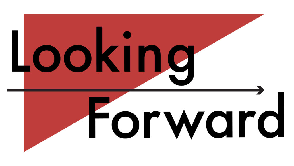 "Black text reads ""Looking Forward"" with a WPLC-red triangle and a black arrow."