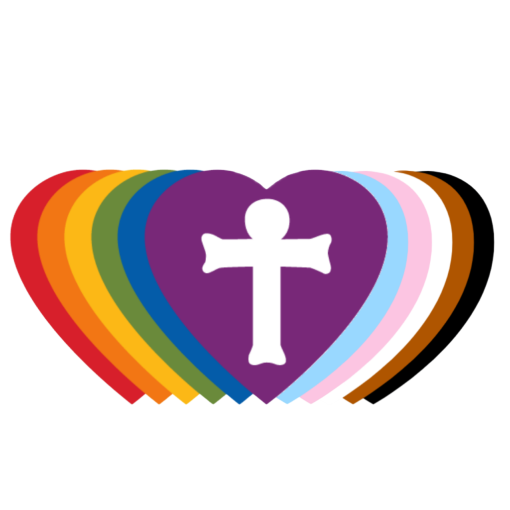 A series of hearts with rainbow colors on the left with transgender flag, brown, and black colors. The center heart is purple with a white cross that  signifies full inclusion of all people with diverse sexual orientations and gender identities.