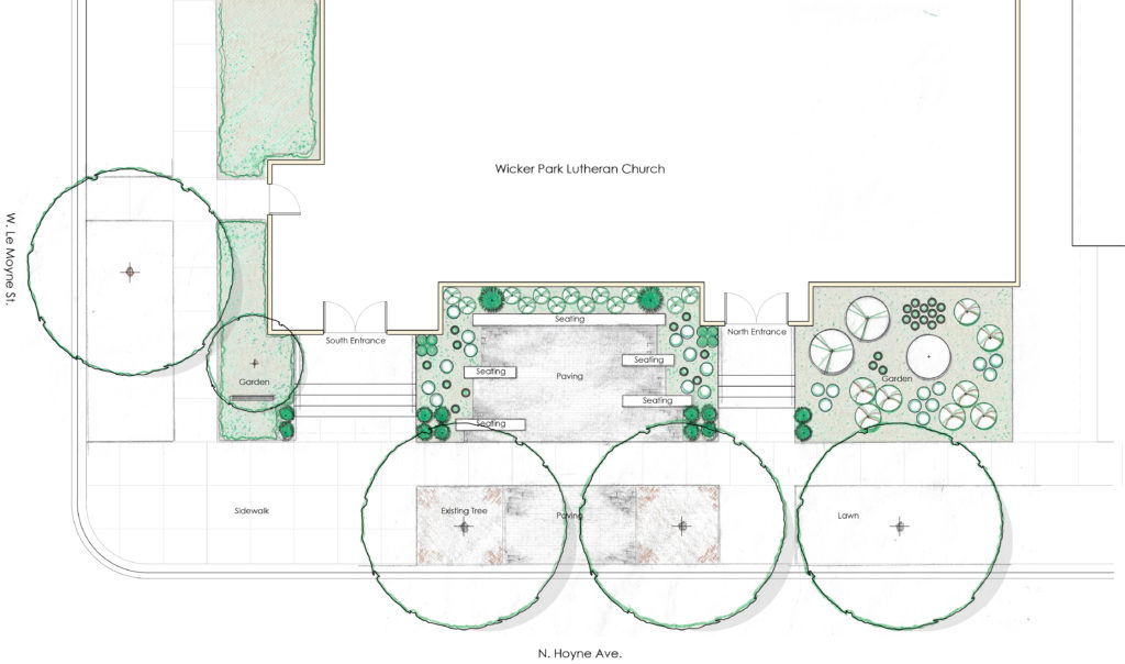Site design plan for the gathering garden showing benches along with native trees and shrubs.